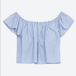 Zara Off the Shoulder Poplin Top